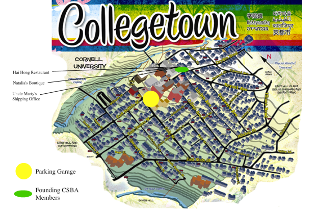A map of Collegetown, alliance businesses, and parking.
